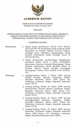 Keputusan Gubernur Tentang Perpanjangan Tahap Ketujuh PSBB di Provinsi Banten